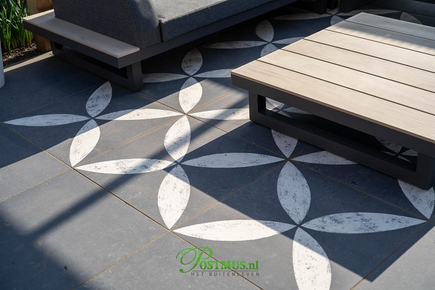 VTW Keramiek tegels  70x70x3.2 cm Belgian Stone Flower White