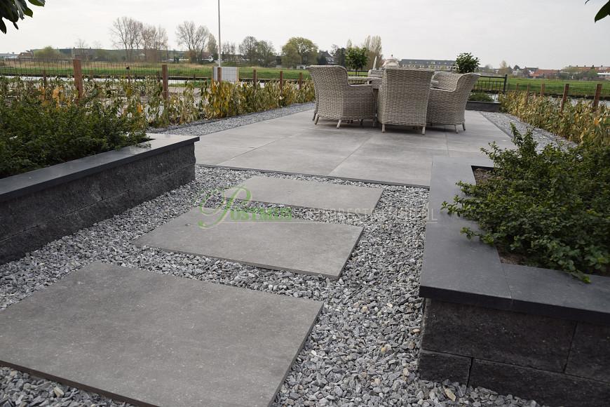 Natuursteen Basalt vijverranden 3x20x100 cm Geslepen**